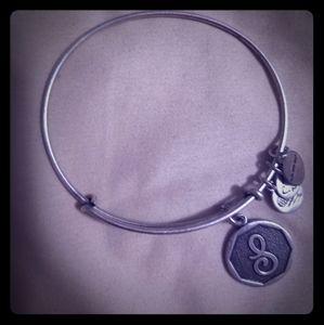 "Alex and Ani monogrammed silver ""S"" bracelet"